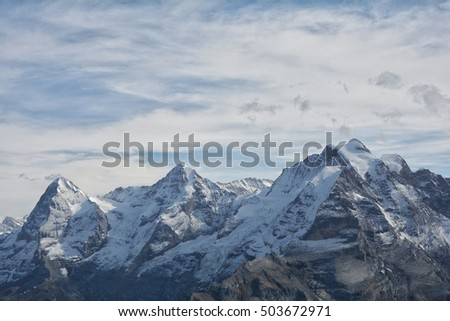 Eiger , Monch and Jungfrau mountain in switzerland
