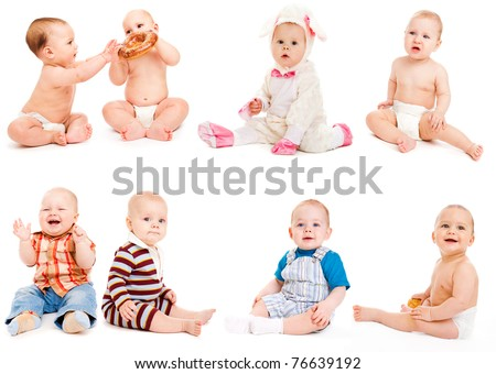 Eight babies sitting, over white - stock photo