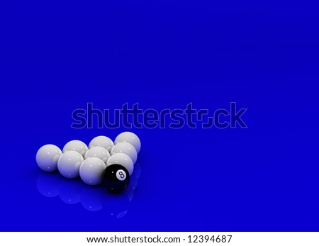 Eight Ball in front of nine white Billiard balls over reflective surface - stock photo