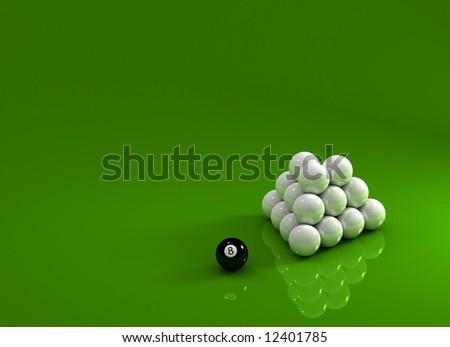 Eight ball laying next to a pyramid of white pool balls - stock photo