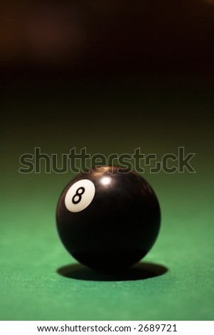 Eight ball on green billiards table.