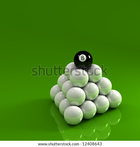 Eight ball on top of a pyramid of white pool balls - stock photo