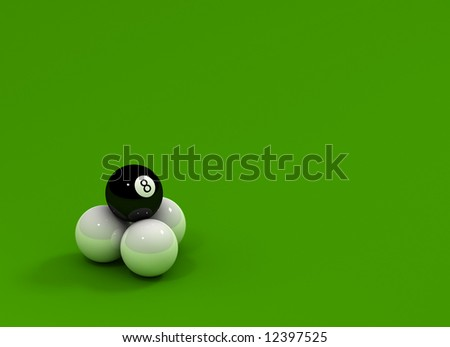 Eight Ball sitting on three white balls over green reflective surface - stock photo