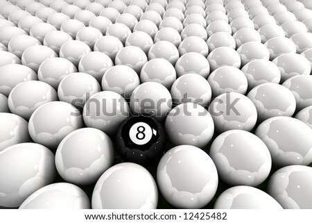 Eight ball surrounded by white billiard balls - stock photo