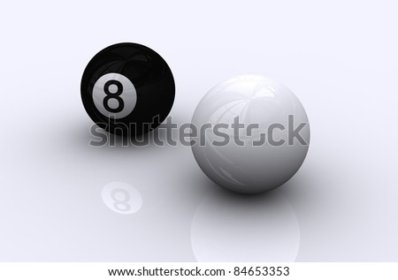Eight ball with white pool ball - stock photo