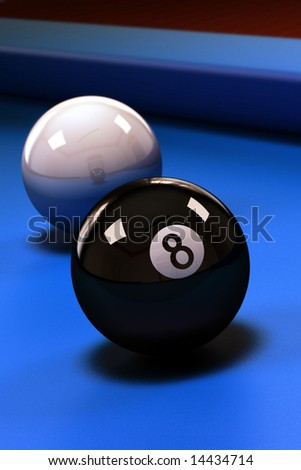 Eight ball with white pool ball on blue pool table - stock photo