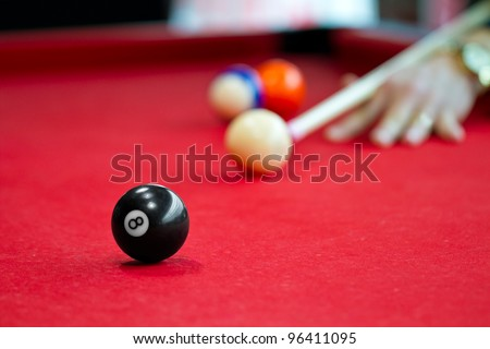 Eight balls billiards. Picture shoot with short focus for art vision.