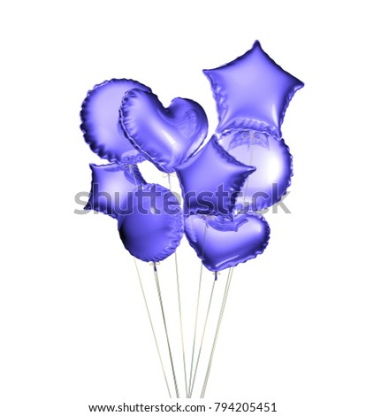 Eight blue balloons in the shapes of a ball, hearts and stars isolated on white background. 3D rendering