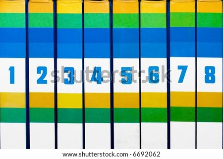 Eight Books. Ordered list of books - stock photo
