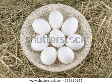 Eight chicken eggs on plate in hay. Symbol of life and Easter. - stock photo