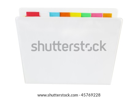 eight color dividers with three ring binder - stock photo