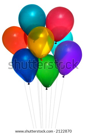 eight colorful helium party balloons on white background - stock photo