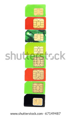 Eight colorful sim card on a white background - stock photo