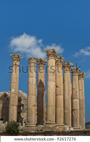 Eight columns with capstones in the Temple of Artemis, on a blue sky. These pillars, built almost two millennia ago were designed to sway gently, absorbing the effects of earth tremors and high winds. - stock photo