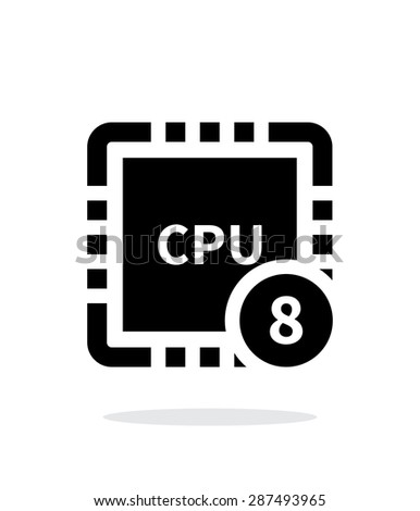 Eight Core CPU simple icon on white background. - stock photo