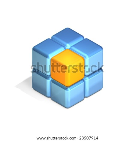 Eight Cubes in Three Dimensional Isometric Perspective (jpeg file has clipping path) - stock photo