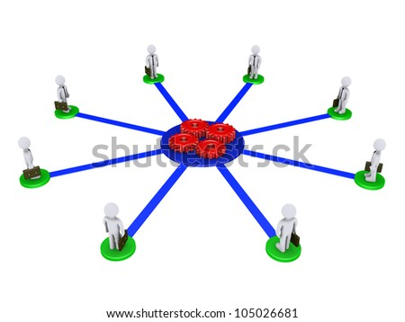 Eight 3d businessmen on pedestals are connected to four red cogs - stock photo