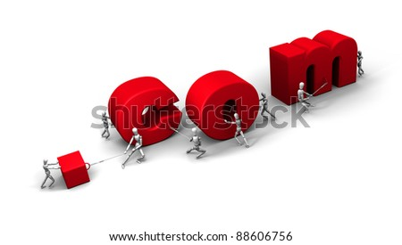 Eight 3D mannequins pushing and pulling letters to form the word '.com' in red. - stock photo
