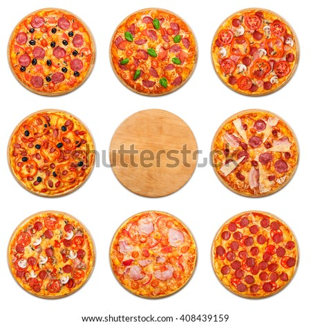 Eight different pizza set for menu. Italian food traditional cuisine. Meat pizzas with salami, sausages, pepperoni and ham. Square collage of pizzas with empty wooden desk copyspace in the middle - stock photo