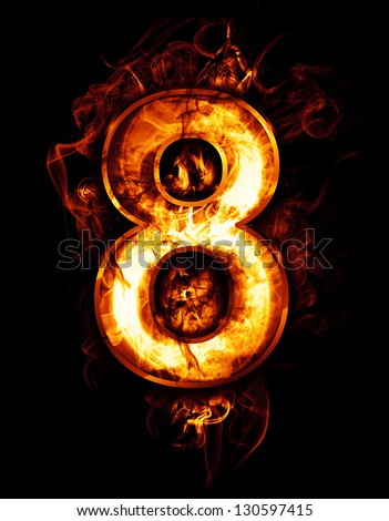 eight, illustration of  number with chrome effects and red fire on black background - stock photo
