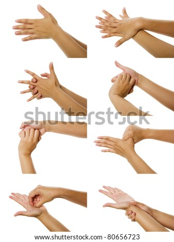 Eight images of woman washing her hand isolated over white background - stock photo