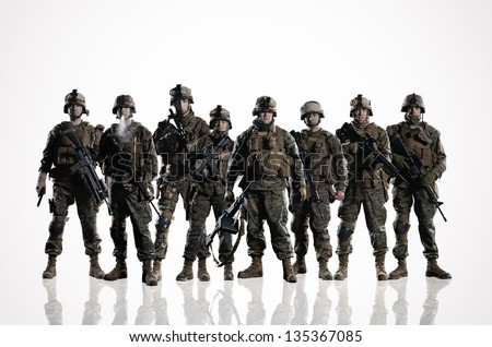 Eight isolated U.S. Marines. on the smooth floor - stock photo