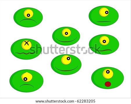 Eight little green monsters with different facial expressions - stock photo