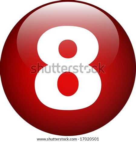 eight (8) number button - stock photo