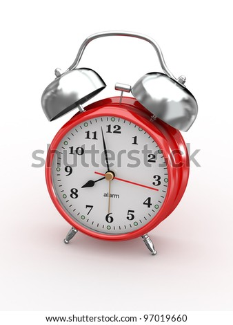 Eight o'clock. Old-fashioned alarm clock on white background. 3d - stock photo