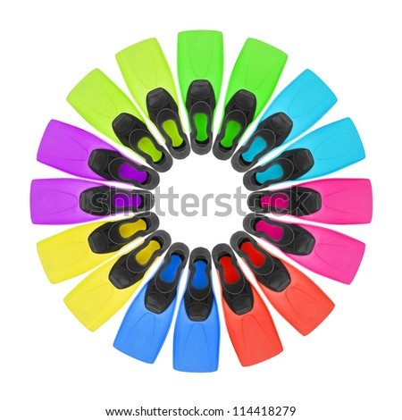 eight pairs color flippers for diving on white background. File contains a path to isolation.