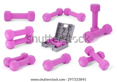 Eight pink dumbbells in hand. Isolated on white background with soft shadow. Eight clipping path included.