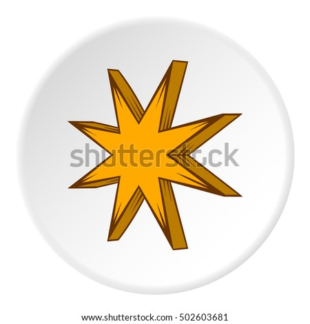 Eight pointed star icon in cartoon style on white circle background. Figure symbol  illustration