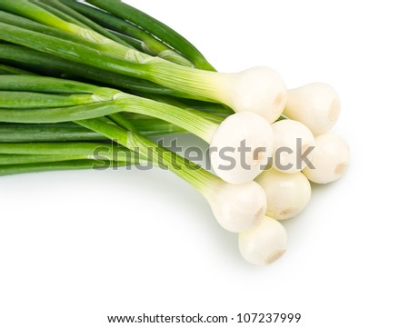 Eight ripe beautiful spring onions closeup isolated on a white background - stock photo