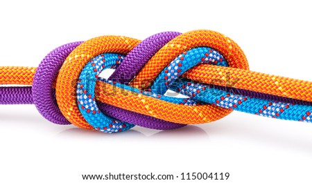 eight rope knot isolated on white - stock photo