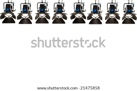Eight searchlights on a white background. - stock photo