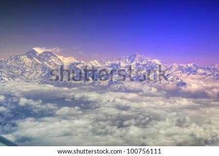 Eight thousanders seen from Air, Himalayas Range, Nepal - stock photo