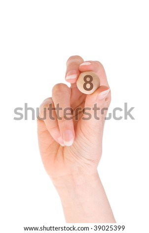 eighth bingo ball in the hand - stock photo