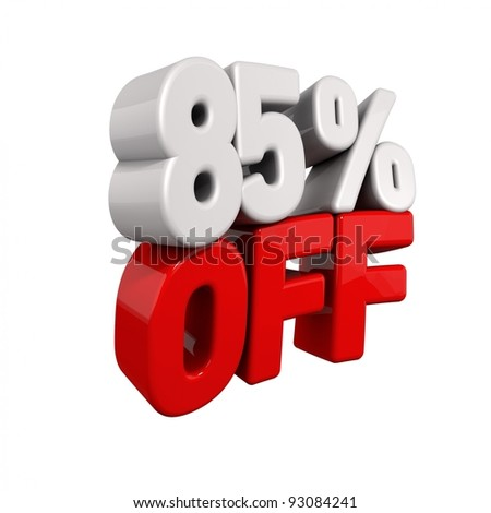 eighty-five Percent Automatic Reduction. 3d text for 85% OFF in red and white angled obliquely away from camera isolated on white - stock photo