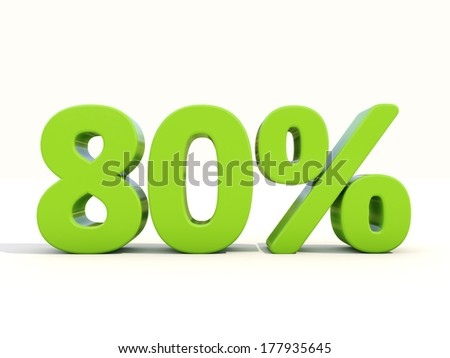Eighty percent off. Discount 80%. 3D illustration. - stock photo