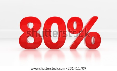 Eighty percent off. Discount 80.  Percentage. 3D illustration - stock photo