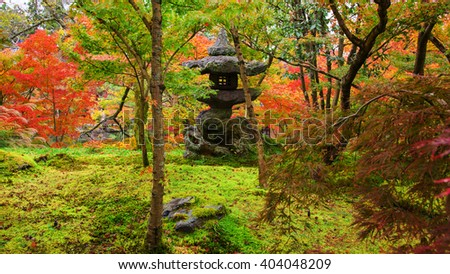 Eikando temple, small shrine in autumn foliage garden in Kyoto, Japan - stock photo