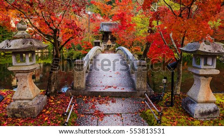 Eikando Zenrinji Temple with red autumn foliage colors in Kyoto, Japan