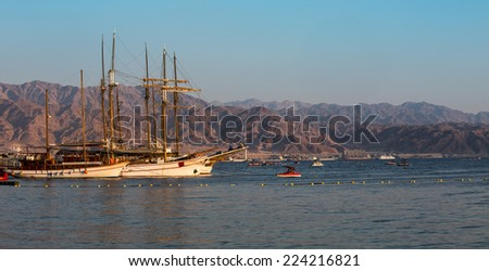 Eilat bay, soutern of israel, afternoon - stock photo