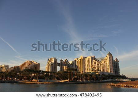 EILAT, ISRAEL - 02 December, 2012: Beautiful view of Eilat resorts, hotels, coast and boats