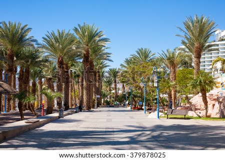 Eilat, Israel - February 11, 2016: Street detail at the beach In Eilat. Eilat is a famous recreation city in Israel.