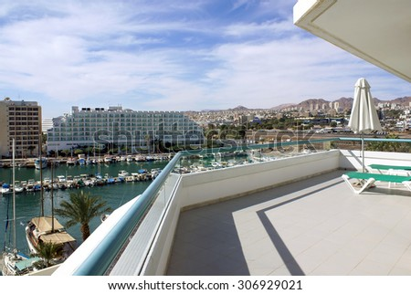 EILAT, ISRAEL - NOVEMBER 24, 2008: View from the hotel  balcony on the park Yacht Club in Eilat - stock photo