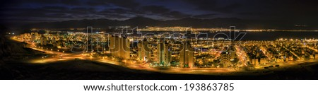 Eilat nocturnal - aerial panoramic view