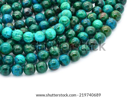 Eilat stone includes an nature alloy of several other semi-precious stones: malachite, azurite, turquoise, pseudomalachite, chrysocolla. - stock photo