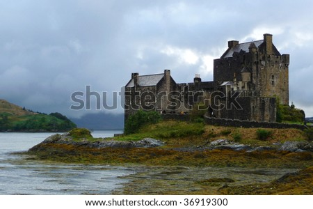 Eilean Donan Castle at Scotland Highlands in Loch Alsh - stock photo