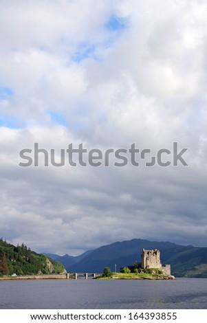 Eilean donan castle in a cloudy day, Scotland. UK. - stock photo